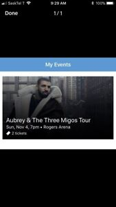 Drake Tickets Lower Bowl GREAT DEAL! Sunday Nov 4th REDUCED