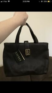 Authentic Dark Leather 'Lauren Ralph Lauren' Handbag W/ Tag $120