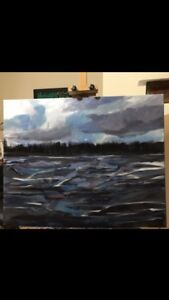 "Original Oil Painting of Lake on Canvas, 22""X28"", $400.00"