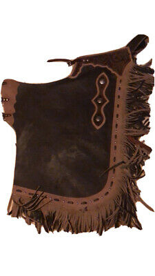 Ch878T Hilason Black Bull Riding Genuine Leather Rodeo Western Chaps U-878T