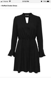 Brand New with Tag Black Ruffled Choker Dress
