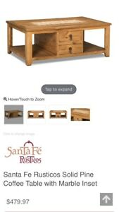 Sante Fe Collection Pine Coffee Table & Wall Shelf