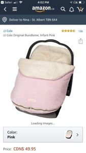 Pink JJ cole car seat cover