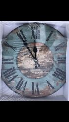 "Wall Clock11""x11""  Farmhouse Chic Shabby Distressed New In Box Barn Wood Style!!"