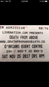 """2 Hard Copy tickets """"Death From Above"""