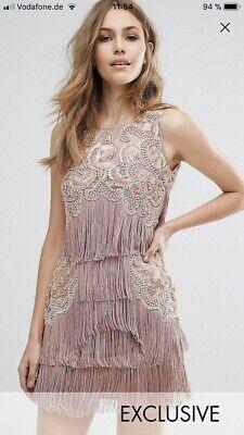 A star is born Dress Kleid Sold Out Fringe Fransen Asos New Rose Gold Swing 30er