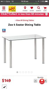 Zoe 4 seater glass dinning table RRP $149 hardly uses Woolloomooloo Inner Sydney Preview