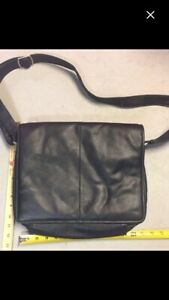 Black leather laptop iPad carry bag
