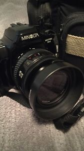 Minolta SLR (film) Camera with 2 Lenses and more