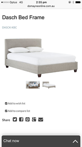 King Size Camel Upholstered Bed (Domayne) Nowra Nowra-Bomaderry Preview
