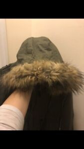 Faux fur Thyme maternity forest green parka 4-in-1