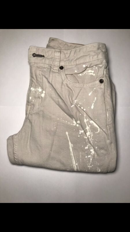 Polo Ralph Lauren Jeans Boys Size 14 Chinos Flat Front / WHITE with paint streak