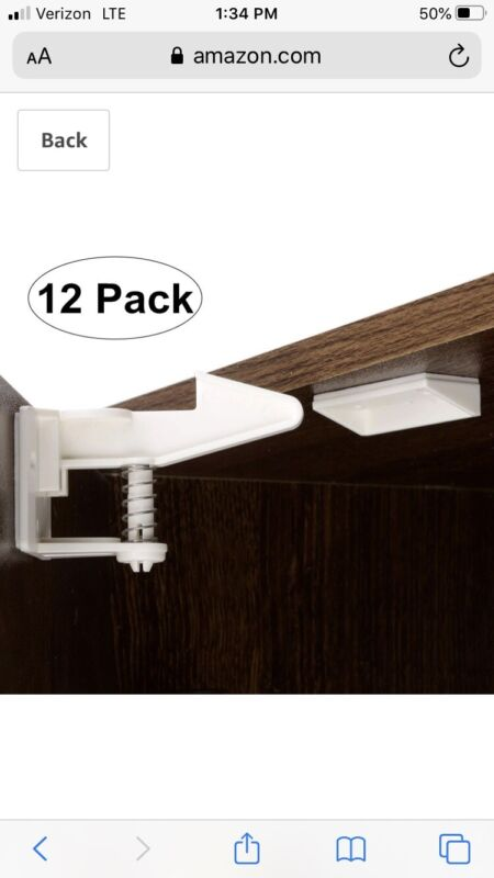 Cabinet Locks Child Safety Latches - 12 Pack Baby Proofing Cabinets Locks