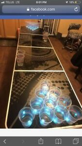 LED beer pong table and poker set