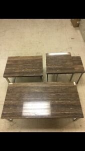 Marble look coffee and end tables