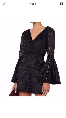 New NWOT $595 ALEXIS Behati Flare Sleeve Black Embroidered Lace Dress 4 6 (Black Long Sleeve Embroidered Lace Flare Dress)