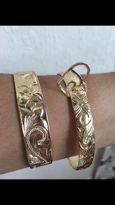 - Gold Hawaiian 15mm & 10mm Hamilton Gold Bangles get 2 - Size 8 Bracelets