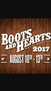 Boots and hearts ticket and general camp site
