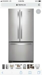 Whirpool Stainless Refrigerator double door bottom freezer