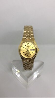 Seiko 5 Womens Automatic Gold-Plated Gold Dial Watch 21 Jewels