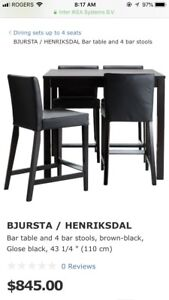 Ikea bjursta bar table and four chairs