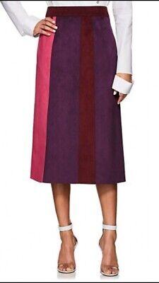 NWOT CF. Goldman by Chelsa Goldman Colorblocked Faux Suede Skirt Size 2