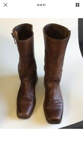 Frye Brown boots square toe size 8b biker motorcycle cowboy