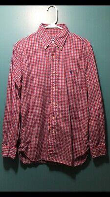 Ralph Lauren Mens Button Front Red Plaid Shirt 100% Cotton Size (Ralph Lauren Tartan)