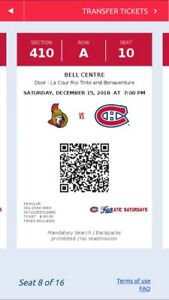 16 CHEAP GROUP TICKETS*****CANADIENS VS. OTTAWA ON SAT DEC. 15th