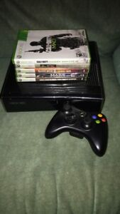 250Gb Xbox 360 with 5 games and controller