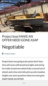 Project boat MAKE AN OFFER NEED GONE ASAP