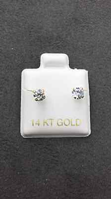 14 KT Yellow Gold Stud Earrings Screw Back (pierced) 4MM 14k Yellow Gold Pierced Earrings