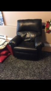 Black leather reclining rocking chair