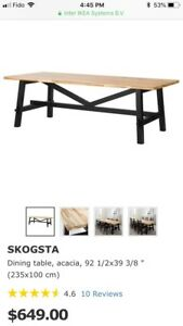 BRAND NEW WOOD DINING TABLE *SKOGSTA*  REGULAR PRICE 700$