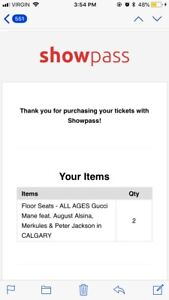 2 Floor Tickets for Gucci Mane in Calgary