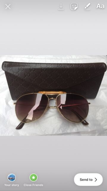 63a3611c765 Authentic GUCCI Gold Brown Bamboo Aviator Sunglasses GG 2235  ...