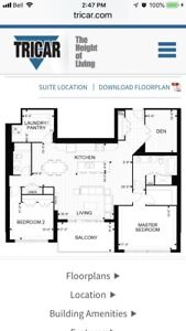 New 2 Bdrm Plus Den 1802 Sq' plus large south facing terrace