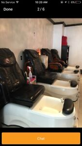 Pedicure/massage chairs and tanning bed in excellent condition!!