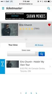 2 Tickets to Eric Chruch at the ACC March 2