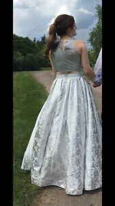 Two-Piece Silver Prom Dress - Worn Once!