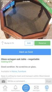 Glass octagon table
