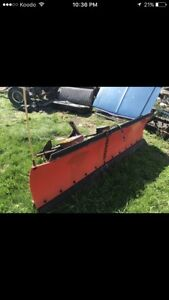 8 ft wide poly plow and snow ex tailgate spreader complete!