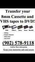 Transfer your VHS or 8mm tapes to DVD or USB!!