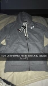 Under armour hoodie size L new with tags