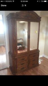 Wood wardrobe and dresser set