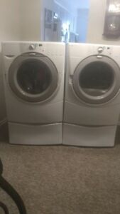 Whirlpool Front Load Washer and Dryer on Pedestals