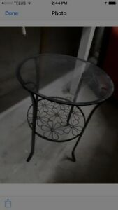 Glass end table - round glass and iron - $30