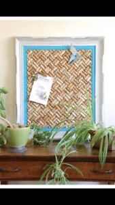 Large Cork Board in hand painted teal & white vintage wood frame