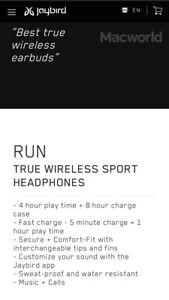 Jay bird Run true wireless headphones! NEW