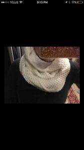 TWO circle/infinity scarves - one white and one grey